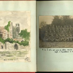 Double page of Nurse Harvey's autograph album showing a watercolour sketch and photograph | Courtesy of the Imperial War Museum
