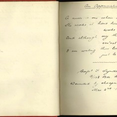 Double page of Nurse Harvey's autograph album. The left hand page is blank. the right hand page shows a handwritten message from an injured soldier | Courtesy of the Imperial War Museum
