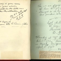 Double page of Nurse Harvey's autograph album showing handwritten entries written by injured soldiers. | Courtesy of the Imperial War Museum