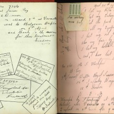 Double page of Nurse Harvey's autograph album showing handwritten entries from injured soldiers. | Courtesy of the Imperial War Museum