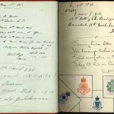 Double page of Nurse Harvey's autograph album showing handwriten entries written by injured soldiers. Includes drawings of regimental badges | Courtesy of the Imperial War Museum