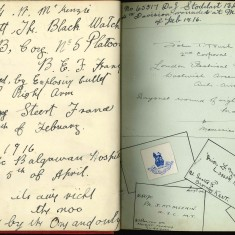 Double page of Nurse Harvey's autograph album showing handwritten entires and images of regimental badges entered by injured soldiers | Courtesy of the Imperial War Museum