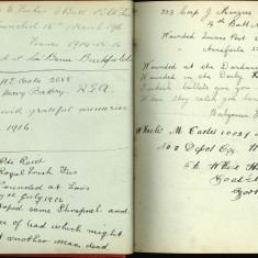 Double page from Nurse Harvey's autograph album showing hanswriiten entries from injured soldiers | Courtesy of the Imperial War Museum