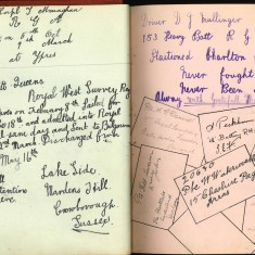 Double page from Nuse Harvey's autograph album showing handwriiten entries by injured soldiers. | Courtesy of the Imperial War Museum
