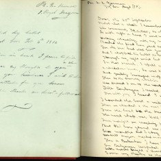 Double page of Nurse Harevy's autograph album showing handwritten entries made by injured soldiers | Courtesy of the Imperial War Museum