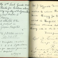 Double page from Nurse Harvey's autograph album showing handwritten entries by injured soliders | Courtesy of the Imperial War Museum