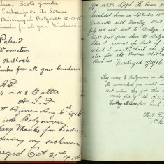 Double page from Nurse Harvey's autograph book showing handwritten entries by injured soliders | Courtesy of the Imperial War Museum