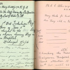 Double page from Nurse Harvey's autograph album showing handwritten entries by injured soldiers | Courtesy of the Imperial War Museum
