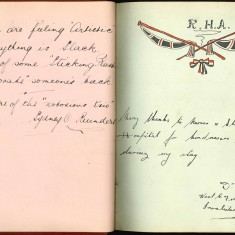 Double page from Nurse Harvey's autograph album showing handwriiten entries by injured soldiers | Courtesy of the Imperial War Museum