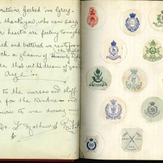 Double page from Nurse Harvey's autograph album showing handwritten entries and regimental badges by injured soldiers | Courtesy of the Imperial War Museum