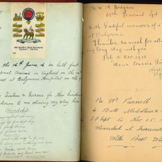 Double page from Nurse Harvey's autograph album showing handwritten and hand drawn entries by injured soldiers | Courtesy of the Imperial War Museum