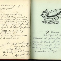Double page from Nurse Harvey's autograph album showing handwritten and handdrawn entries by injured soldiers | Courtesy of the Imperial War Museum
