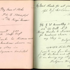 Double page from Nurse Harvey's autograph album showinf handwritten entries by injured soldiers | Courtesy of the Imperial War Museum