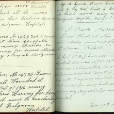 Double page from Nurse Harvey's autograph book showing handwritten entries by injured soldiers | Courtesy of the Imperial War Museum