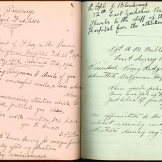 Double page of Nurse Harvey's autograph album showing handwritten entries by injured soldiers | Courtesy of the Imperial War Museum
