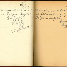 Double page from Nuse Harvey's autograph album showing handwritten entries by injured soldiers | Courtesy of the Imperial War Museum