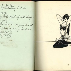 Double page from Nurse Harvey's autograph album showing a handwritten entry on the left hand page and a handdrawn sketch of a mermaid on the right hand page. | Courtesy of the Imperial War Museum