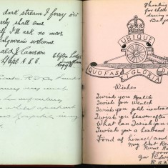 Double page from Nurse Harvey's autograph album showing handwritten and handsketched entries made by injured soldiers | Courtesy of the Imperial War Museum