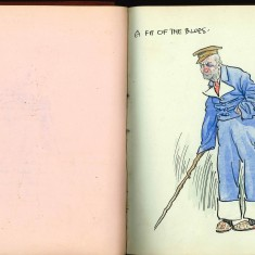 Double page from Nurse harvey's autograph album. the left hand page has been left blank and the right hand page shows a coloured sketch of a man dressed in blue | Courtesy of the Imperial War Museum