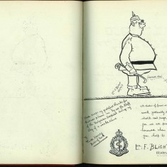 Double page from Nurse Harvey's autograph album showing a handwritten sketch and entry made by an injured soldier | Courtesy of the Imperial War Museum