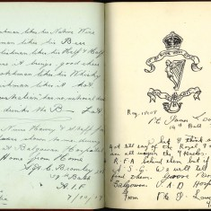 Double page from Nurse Harvey's autograph album showing handwritten and handdrawn entries made by injured soldiers | Courtesy of the Imperial War Museum