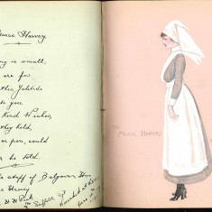 Double page from Nurse Harvey's autograph album showing handwritten entry and hand colour drawing of a nurse. | Courtesy of the Imperial War Museum