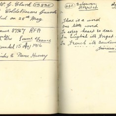 Double page from Nurse Harvey's autograph book showing handwritten entries made by injured soldiers | Courtesy of the Imperial War Museum