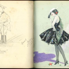 Double page from Nurse Harvey's autograph album showing hand drawn sketches made by injured soldiers | Courtesy of the Imperial War Museum