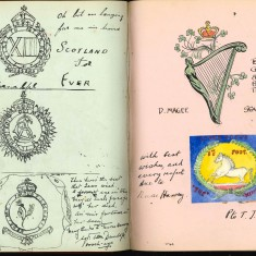 Double page from Nurse Harvey's autograph album showing handwritten and hand drawn entries made by injured soldiers | Courtesy of the Imperial War Museum