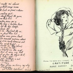 Double page from Nurse Harvey's autograph album showing handwritten and hand sketched entries made by injured soldiers | Courtesy of the Imperial War Museum