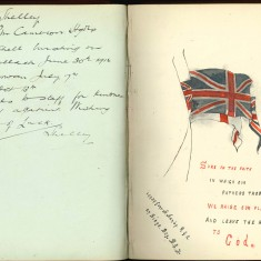 Double page from Nurse Harvey's auotgraph album showing handwritten and colour handsketched entries made by injured soldiers | Courtesy of the Imperial War Museum
