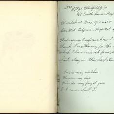 Double page from Nurse Harvey's autograph album showing a handwritten entry by an injured soldier on the right hand page | Courtesy of the Imperial War Museum