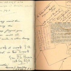 Double page from Nurse Harvey's autograph album shwoing handwriiten entries made by injured soldiers | Courtesy of the Imperial War Museum