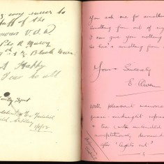 Double page from Nurse Harvey's autograph album showing handwritten entries made by injured soldiers | Courtesy of the Imperial War Museum