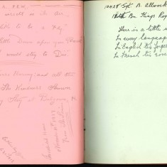 Double page from Nurse Harvey's autograph showing handwritten entries made by injured soldiers | Courtesy of the Imperial War Museum