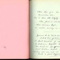Double page from Nurse Harvey's autograph album showing a handwritten entry by an injured soldier | Courtesy of the Imperial War Museum