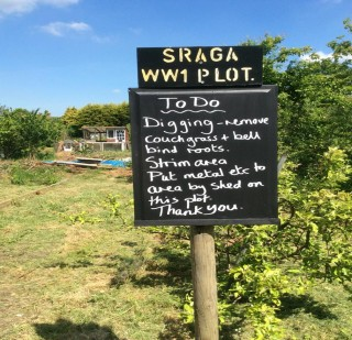 Colour photograph showing sign and to do list at the allotment | Southlands Road Allotment and Gardens Association