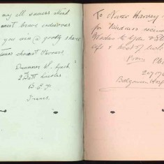 Double page of Nurse Harvey's autograph album showing handwritten entries made by injured soldiers | Courtesy of the Imperial War Museum