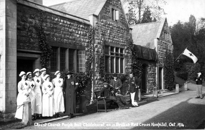 Black and white photograph showing VAD nurses standing outside Christ Chuch Parish Hall, Chislehurst | Courtesy of Chislehurst Society Ribbons Collection