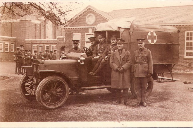 Sepia postcard showing the military in a car outside the Blagowan VAD hospital | Bromley Local Studies and Archives