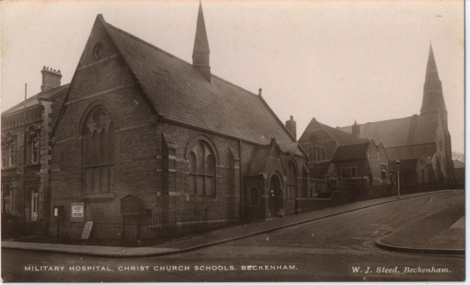 Sepia postcard showing the Christ Church school buildings in Beckenham | Bromley Local Studies and Archives