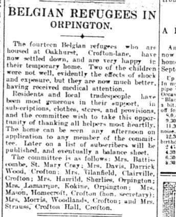 Newspaper article about Belgian refugees in Orpington | St Mary Cray, Orpington and District Times