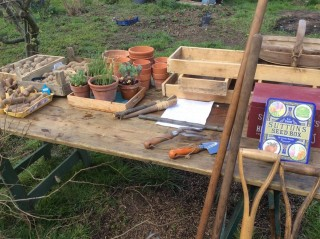 Table showing allotment tools and equipment   Southlands Road Allotment and Gardens Association