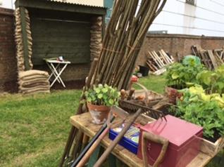 Tools used for tending the allotment plot.   Southlands Road Allotment and Gardens Association