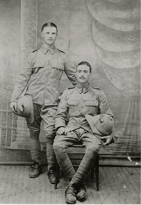 Black and white portrait photograph showing Sydney with another soldier. | Courtesy of Louise Moralee